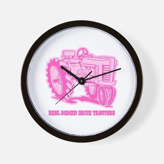 Real Women Drive Tractors Wall Clock