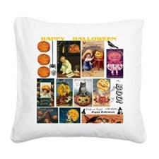 Halloween Vintage Greeting Ca Square Canvas Pillow