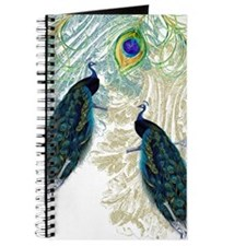 Vintage Peacock Bird Feathers Etchings Ele Journal