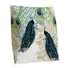 Vintage Peacock Bird Feathers Burlap Throw Pillow