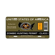 Zombie Hunting Permit Aluminum License Plate