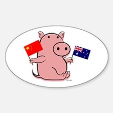 AUSTRALIA AND CHINA Oval Decal