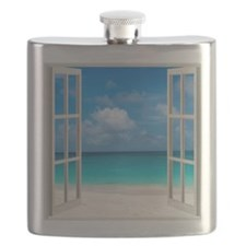 Tropical Beach Window View Anguilla Flask