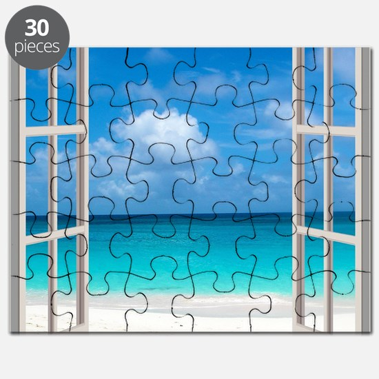 Tropical Beach Window View Anguilla Puzzle