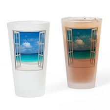 Tropical Beach Window View Anguilla Drinking Glass