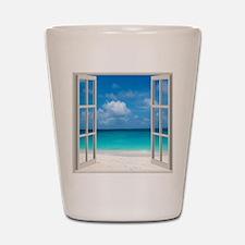 Tropical Beach Window View Anguilla Shot Glass