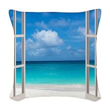 Tropical Beach Window View Ang Woven Throw Pillow
