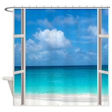 Tropical Beach Window View Anguilla Shower Curtain