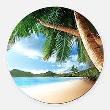 Beautiful Beach Round Car Magnet