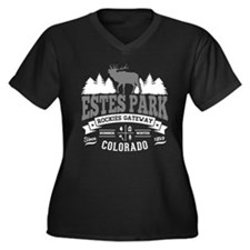 Estes Park V Women's Plus Size V-Neck Dark T-Shirt