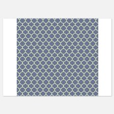 Blue Green Ornamental Quatre Foil Pattern Invitations