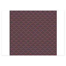 Dark Purple Red Scales Pattern Invitations