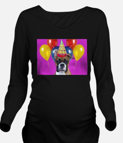 Birthday Boxer puppy Long Sleeve Maternity T-Shirt