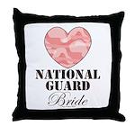 National Guard Bride Camo Heart Throw Pillow