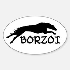 Running Borzoi w/Text Oval Decal
