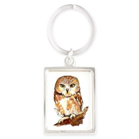 Watercolor Saw Whet Cute Little Owl Keychains