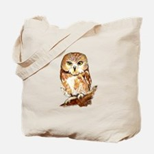 Watercolor Saw Whet Cute Little Owl Tote Bag