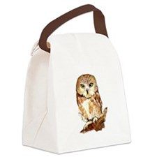 Watercolor Saw Whet Cute Little Owl Canvas Lunch B