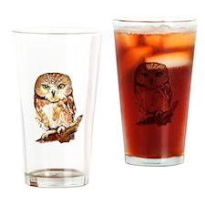 Watercolor Saw Whet Cute Little Owl Drinking Glass
