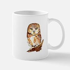 Watercolor Saw Whet Cute Little Owl Mugs