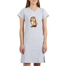 Watercolor Saw Whet Cute Little Owl Women's Nights