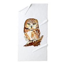 Watercolor Saw Whet Cute Little Owl Beach Towel