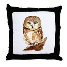 Watercolor Saw Whet Cute Little Owl Throw Pillow
