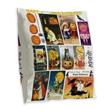 Halloween Vintage Greeting Car Burlap Throw Pillow