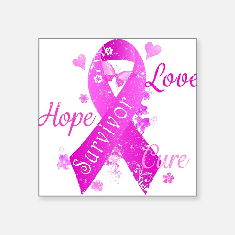 "Survivor Love Hope Cure Square Sticker 3"" x 3"""