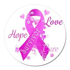 Survivor Love Hope Cure Round Car Magnet