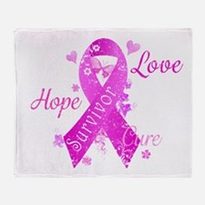 Survivor Love Hope Cure Throw Blanket