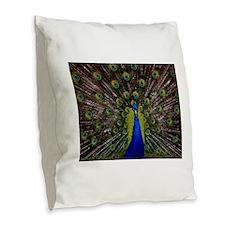 Peacock bird Burlap Throw Pillow