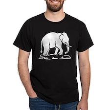 White Asian Elephant Trekking Ahead Traffic Sign T