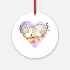 wolf sleeping ornament