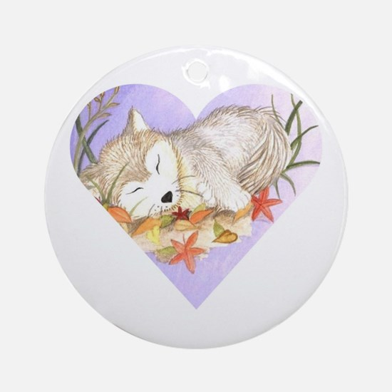 wolf sleeping ornament