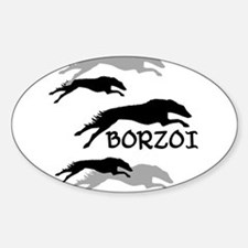 Many Borzois Running Oval Decal