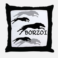 Many Borzois Running Throw Pillow
