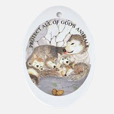 Wolf cubs ChristmasOval Ornament