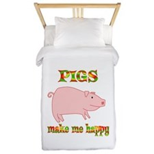 Pigs Make Me Happy Twin Duvet