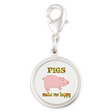 Pigs Make Me Happy Silver Round Charm