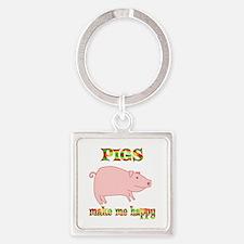 Pigs Make Me Happy Square Keychain