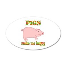 Pigs Make Me Happy Wall Decal