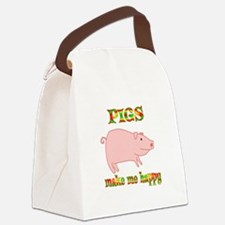Pigs Make Me Happy Canvas Lunch Bag