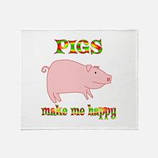 Pigs Make Me Happy Throw Blanket