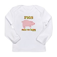 Pigs Make Me Happy Long Sleeve Infant T-Shirt