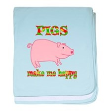 Pigs Make Me Happy baby blanket