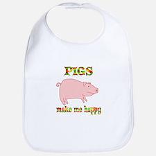 Pigs Make Me Happy Bib