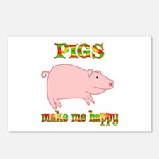 Pigs Make Me Happy Postcards (Package of 8)