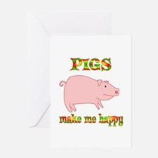 Pigs Make Me Happy Greeting Card