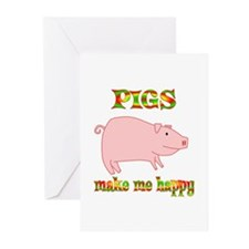 Pigs Make Me Happy Greeting Cards (Pk of 20)